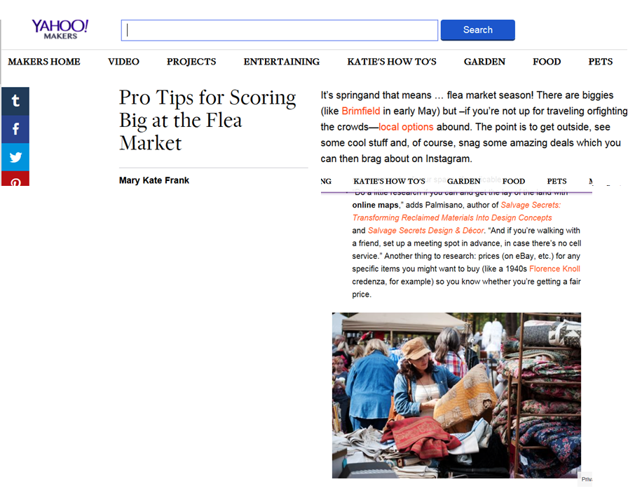 Here are some tips for shopping at Flea Markets and similar types of events. Thank you Yahoo Makers for having me be a part of your article.