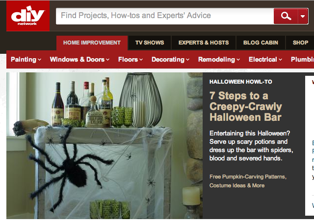 Make your own spooky Halloween bar for DIY NETWORK made by Joanne Palmisano, Salvage Secrets Design, Photo by Susan Teare