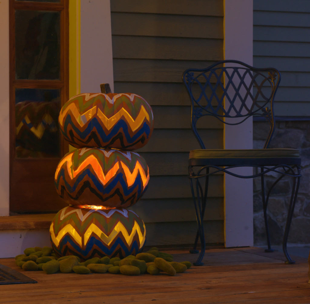 Retro Cheveron Pattern Pumpkin Topiary for DIY NETWORK made by Joanne Palmisano Salvage Secrets Photo Susan Teare