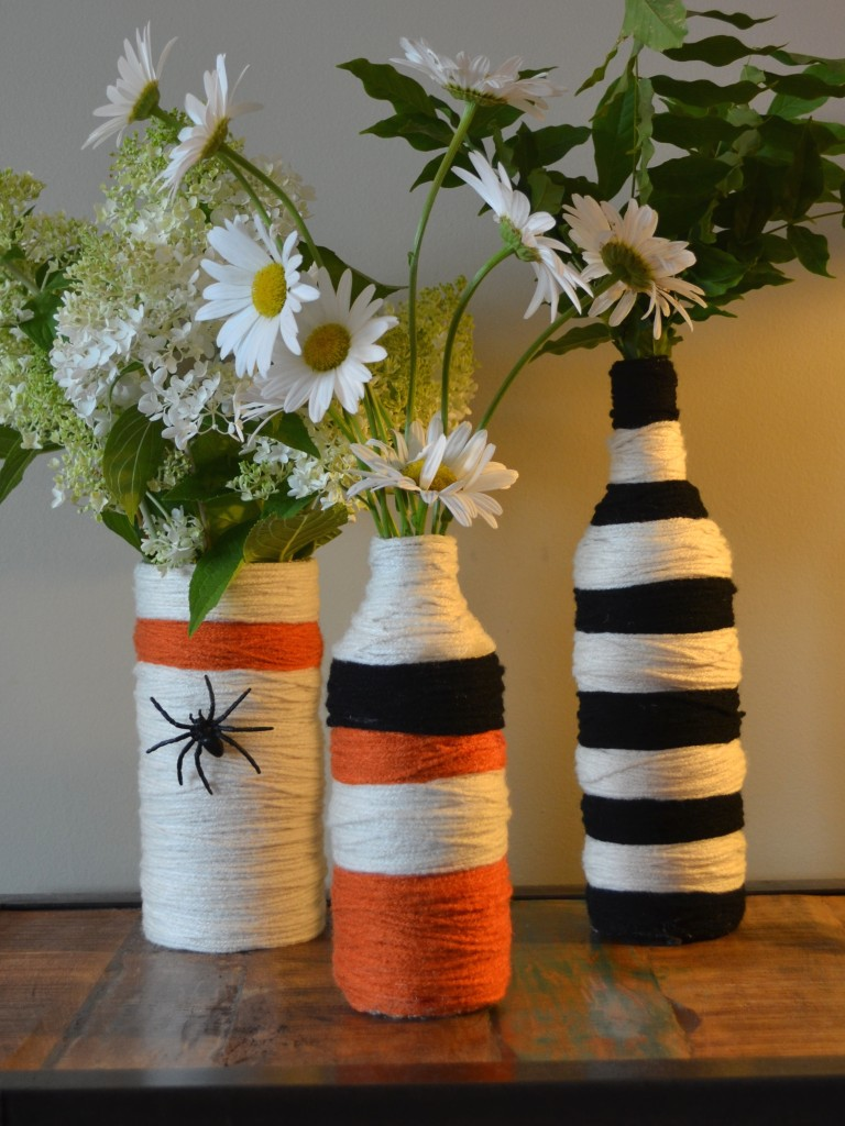 halloween yarn wrapped recycled bottles joanne palmisano salvage secrets design