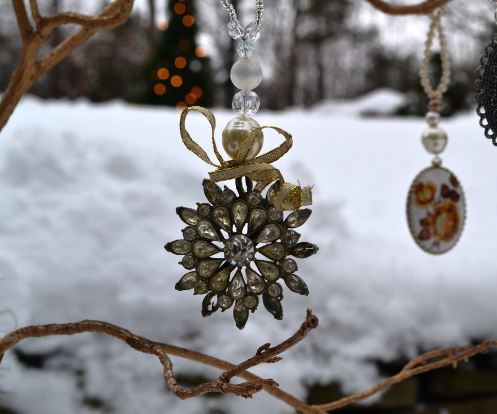 costume jewlery upcycled into christmas tree ornaments by Joanne Palmisano